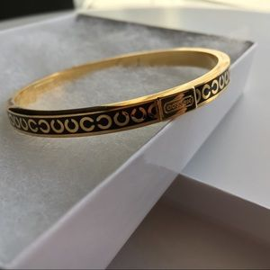 Coach Gold and Black Enamel Logo Bangle Bracelet
